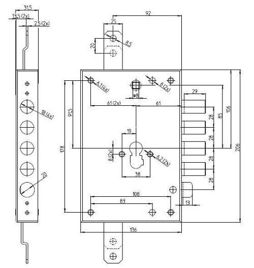 Схема замка: (7051PE; 7056PE)